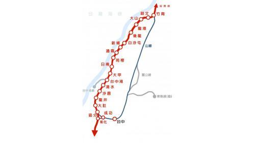 海線鐡路自竹南至彰化站示意圖