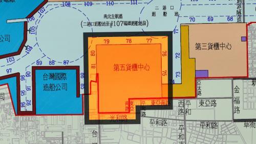 高雄港第五貨櫃中心位於大仁商港區規劃為74-81號八座水深14-15公尺碼頭可放貨櫃49000個TUE