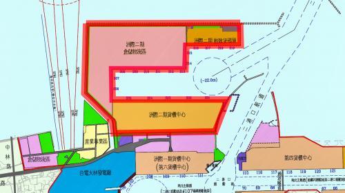 高雄港洲際貨櫃中心第二期工程計畫  高雄港在2011年啟動,共計有422公頃,有19座碼頭。